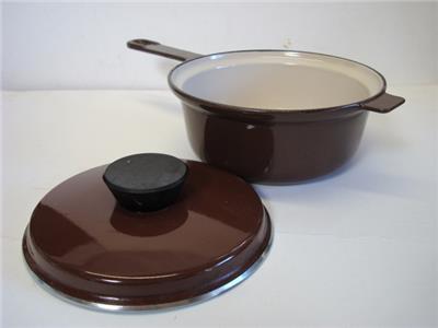 le creuset cousances brown enamel cast iron 18 sauce pot w lid ebay. Black Bedroom Furniture Sets. Home Design Ideas