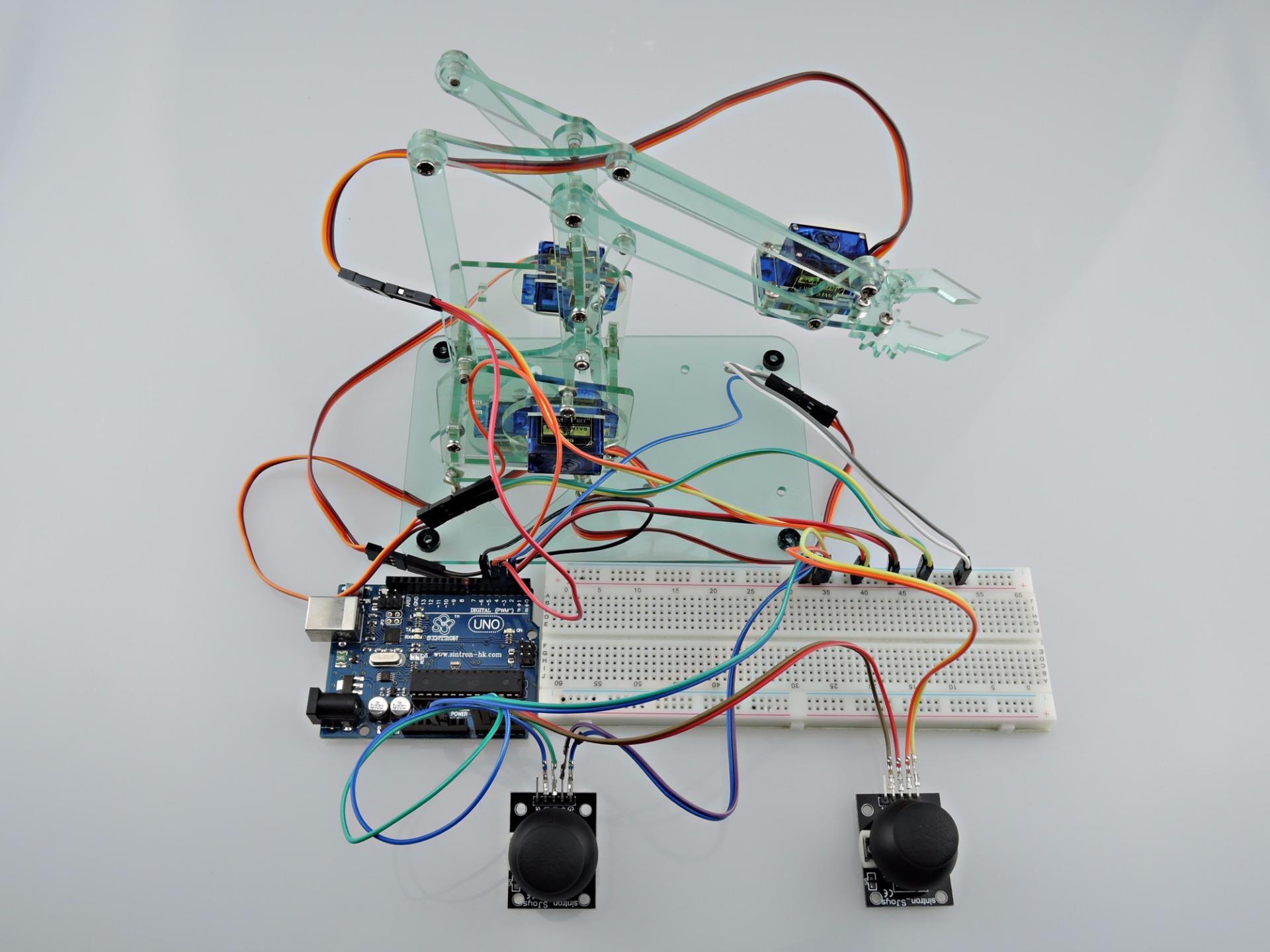 Sintron mini industrial robotic arm kit servo joystick