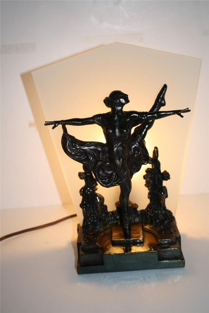 Amazing-Pompeian-Bronze-Art-Deco-Table-Lamp-Lady-Ballerina-Figure-Nude-Fan-Glass