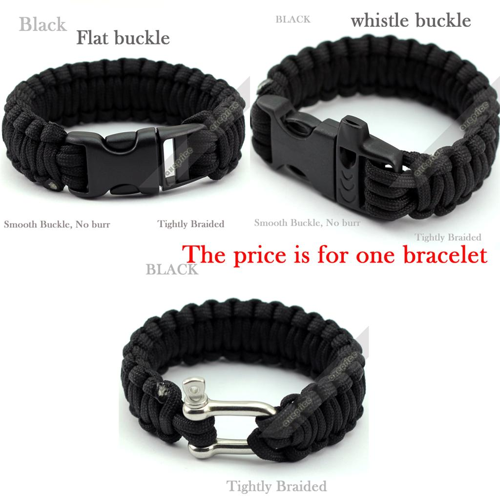 Parachute Paracord Cord Cable Whistle Survival Bracelet Outdoor camping Hiking