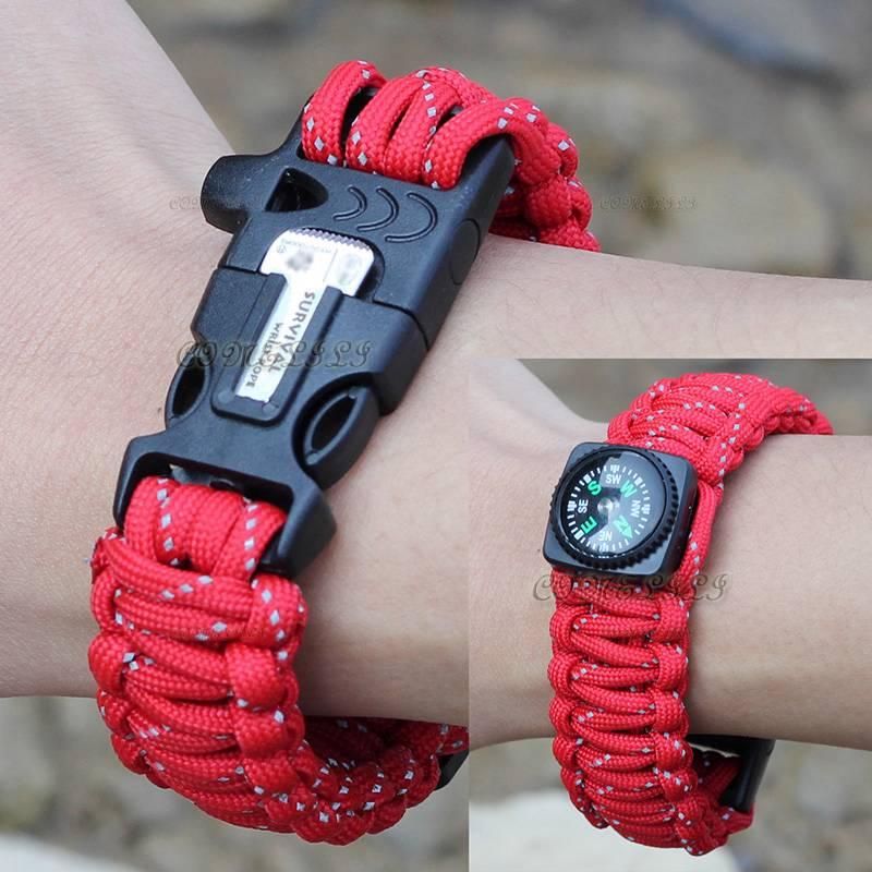 Paracord EDC Survival Bracelet Band / Flint Fire Starter / Compass / Whistle