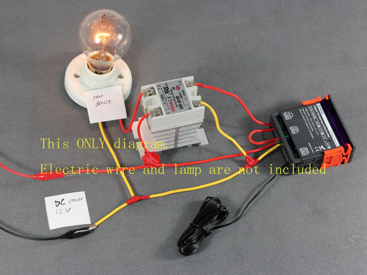 Temperature Controller F Thermostat w/ 40A SSR DC DC Solid State Relay  #B0971B