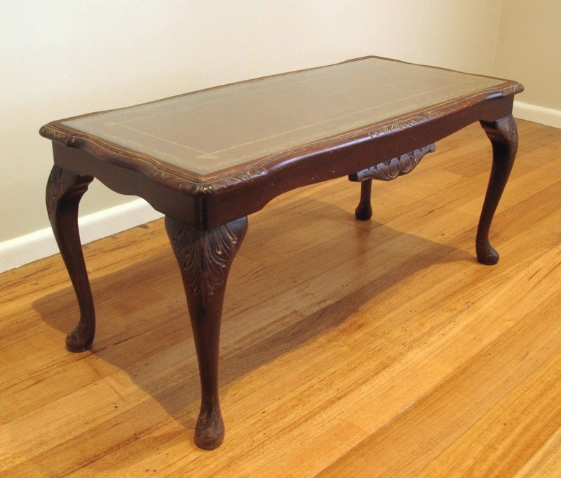 Ornate Antique Coffee Table With Glass And Leather Top Ebay