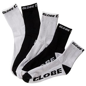 GLOBE-BLKWHT-SOCKS-5-PACK-MENS-12-15-CREW-ASSORTED-GS10-AUSSIE-SELLER-FAST-POST