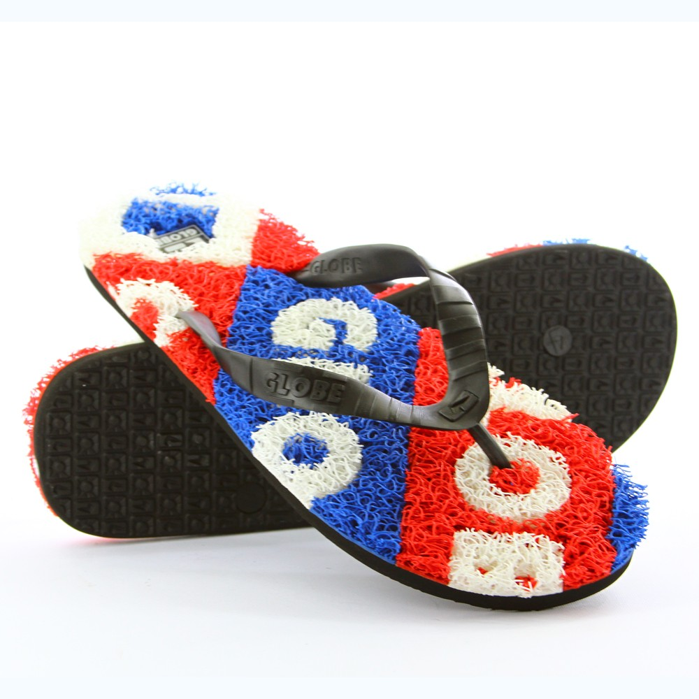 GLOBE-MENS-THONGS-MERKIN-TYPO-ROYAL-BLUE-RED-WH-SANDALS-FLIP-FLOPS-FREE-DELIVERY