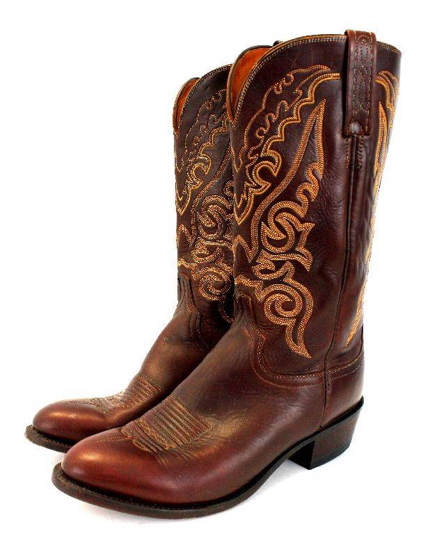 mens brown lucchese 1883 cowboy western boots goatskin