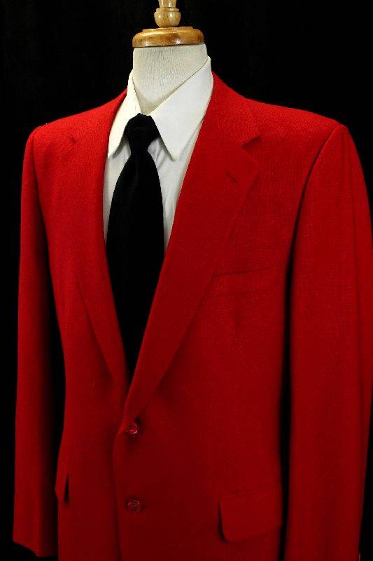 Vintage Mens Red JACKET BLAZER Leisure Sport Coat Knit Wool Classic Retro 44 L | EBay