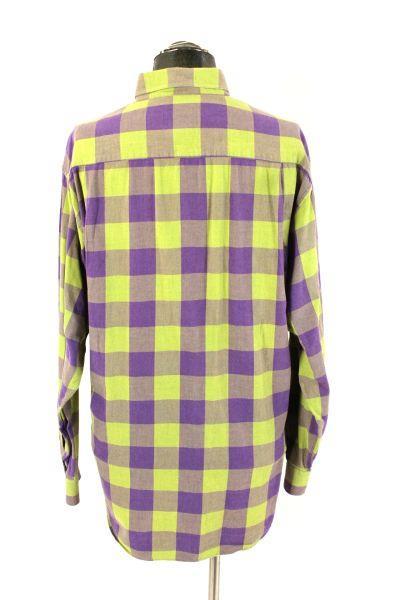 Mens Green Purple Plaid Scott Barber Casual Dress Shirt