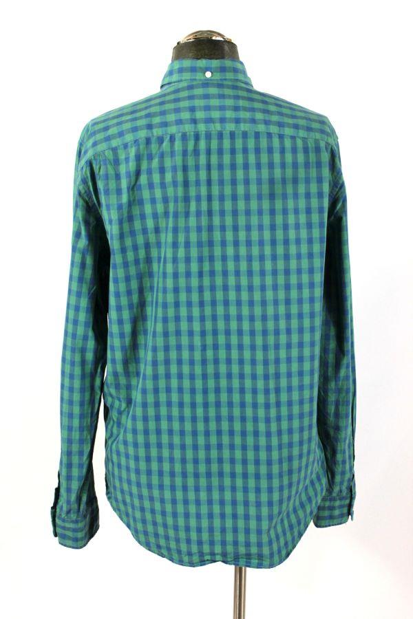 Mens blue green gingham check gap lived in oxford casual for Mens green gingham dress shirt
