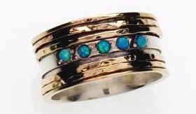 Sterling Silver gold BLUE opal motion ring GEMSTONE JEWELRY sz SIZE 6