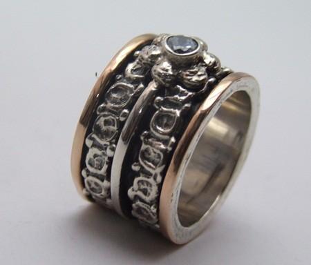 flower zirconia 925 silver gold spinner engraved ring
