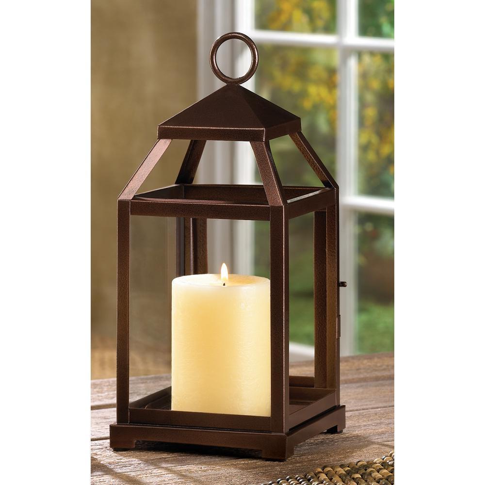 Primitive Rustic Hanging Tabletop Metal Iron Glass Pillar Candle LANTERNS Holder