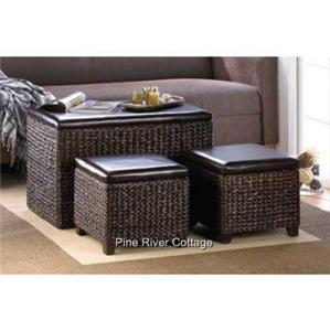 Dark Brown Woven Wicker Storage Chest Trunk Coffee Table Ottomans Padded Set Ebay