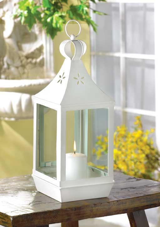 White Metal Pillars : White metal iron glass hanging tabletop pillar votive