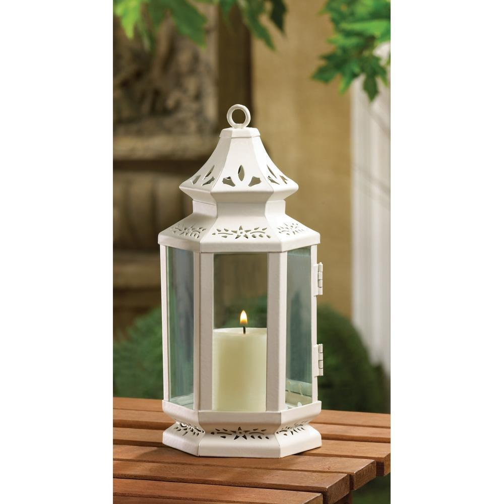 Hanging Candle Lanterns Flower Tower Lantern Wedding: White Metal Iron Glass Hanging Tabletop Pillar Votive