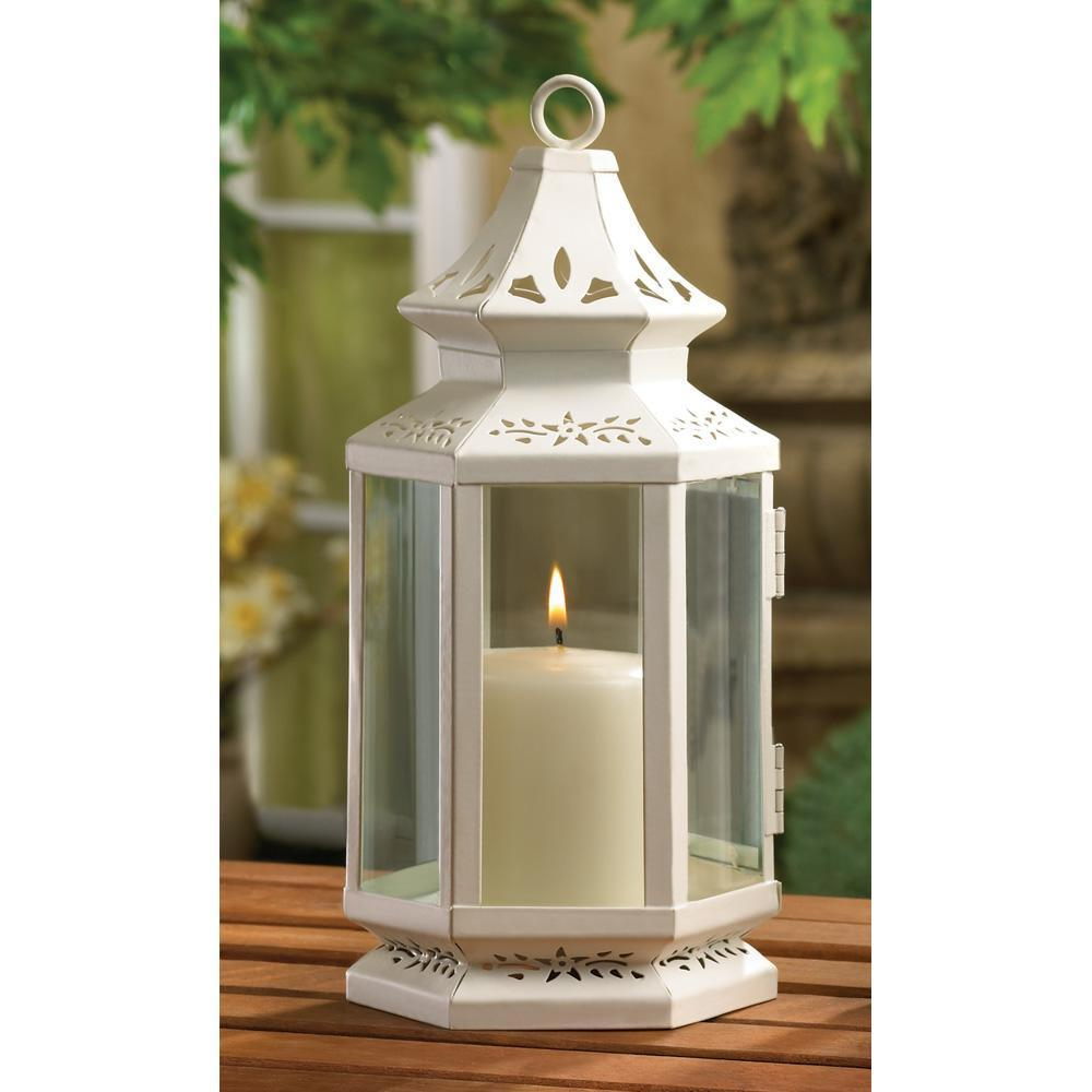 White metal iron glass hanging tabletop pillar votive
