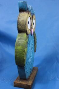New art deco modern wise barn hoot owl flat statue figurine sculpture 8 5 blue - Deco moderne flat ...