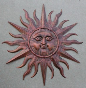 New Metal Bronze Sun Face Celestial Wall Hanging Art