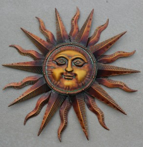 New Metal Bronze Copper Sun Face Celestial Wall