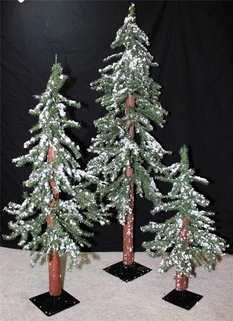 new lot set of 3 snow covered alpine christmas tree trees. Black Bedroom Furniture Sets. Home Design Ideas