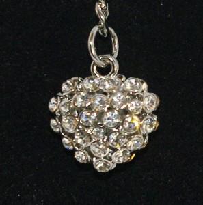 Kirks Folly Austrian Crystals Heart Charm Key Chain CLR