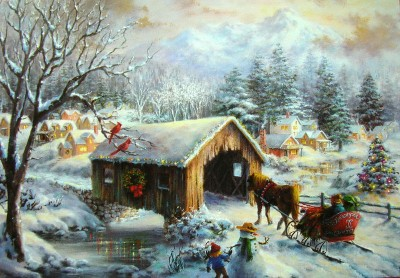 Artist nicky boehme covered bridge christmas greeting Christmas card scenes to paint