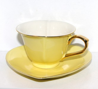 New Yedi Yellow Gold Heart Shaped Porcelain Tea Coffee Cup