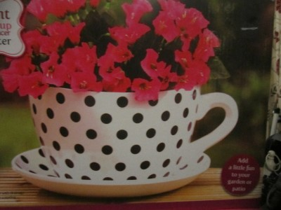Giant Black White Polka Dot Tea Cup Saucer Flower Plant Pot Planter Ebay