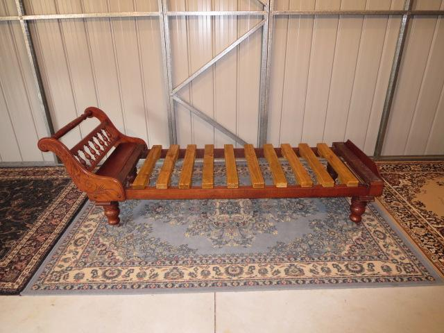 Antique solid silky oak miners couch chaise lounge for Antique chaise lounge ebay