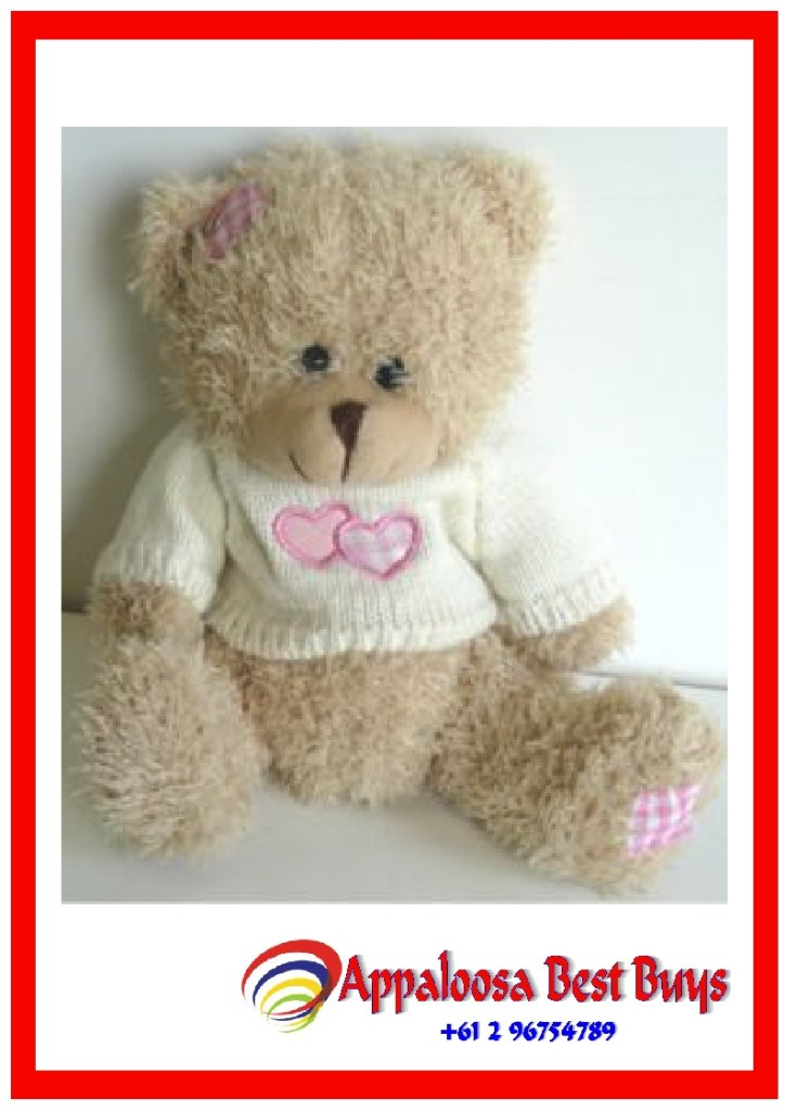 Soft-Toy-White-Teddy-Bear-With-Pink-HEART-Jumper-19-5cm-x-1-pc-New-Soft-Filled
