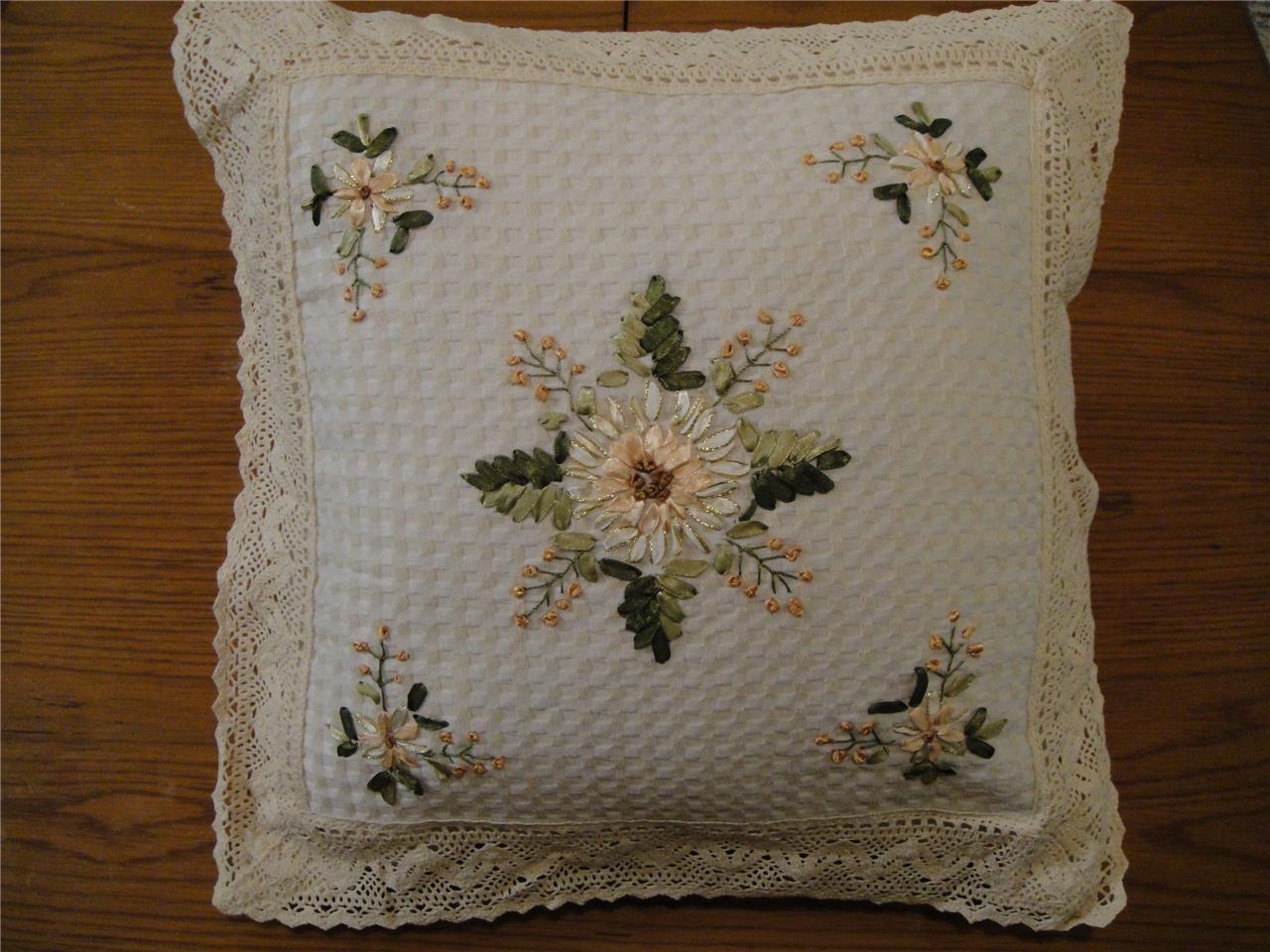 Silk ribbon embroidery crochet lace cushion cover cm ebay