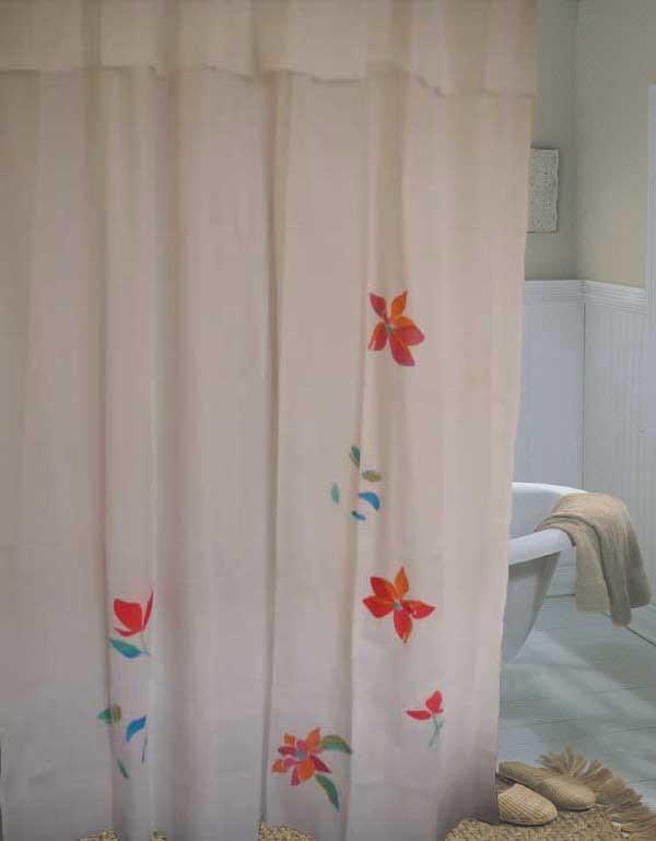 Embro Flower Cotton Shower Curtain 180x190cm Drop A