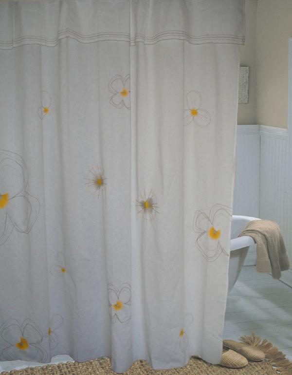 Embro Flower Cotton Shower Curtain 180x190cm Drop D