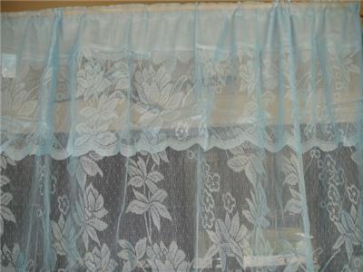 blue warp knitting lace sheer curtain with valance 152cm x. Black Bedroom Furniture Sets. Home Design Ideas