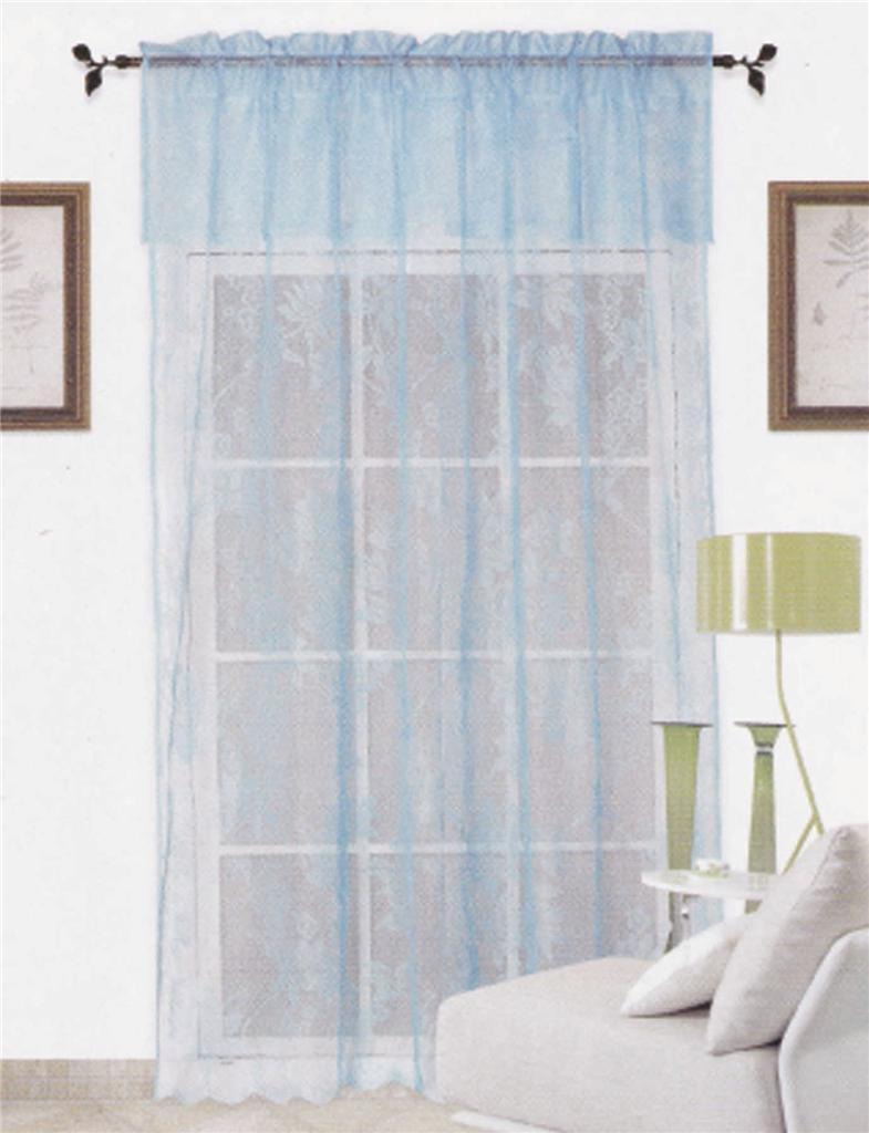 Blue Warp Knitting Lace Sheer Curtain With Valance 152cm X 228cm 45cm Ebay