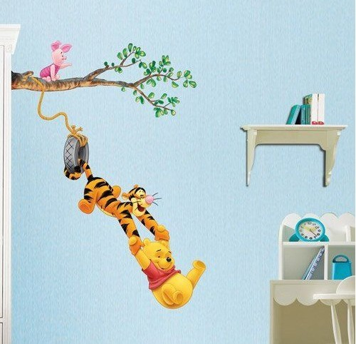 Winnie the pooh baby nursery room wall sticker tiger for Baby pooh and friends wall mural