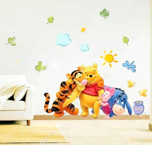 Winnie the pooh baby nursery room wall sticker friends for Baby pooh and friends wall mural