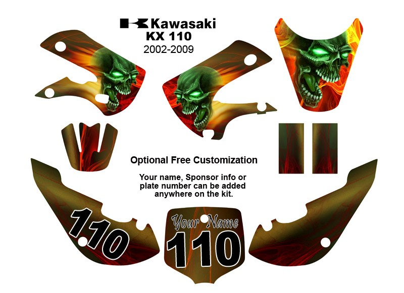 Kawasaki Klx Bike Decal Kit Color Demon Ebay