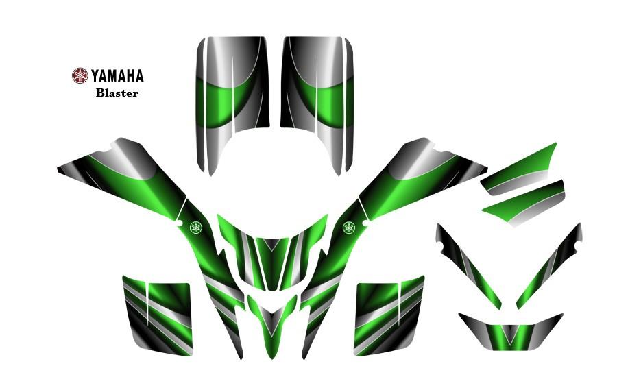 Yamaha Blaster ATV Quad Graphic Decal kit #2222 Green