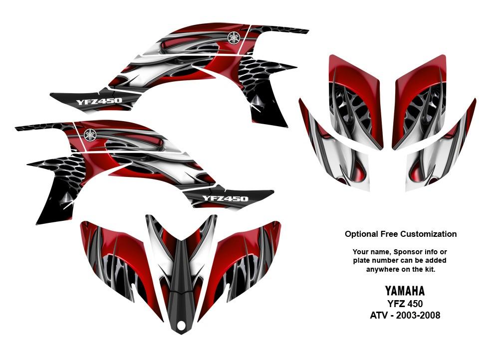 YAMAHA YFZ450 Atv Quad Graphic Decal Kit #4444Red