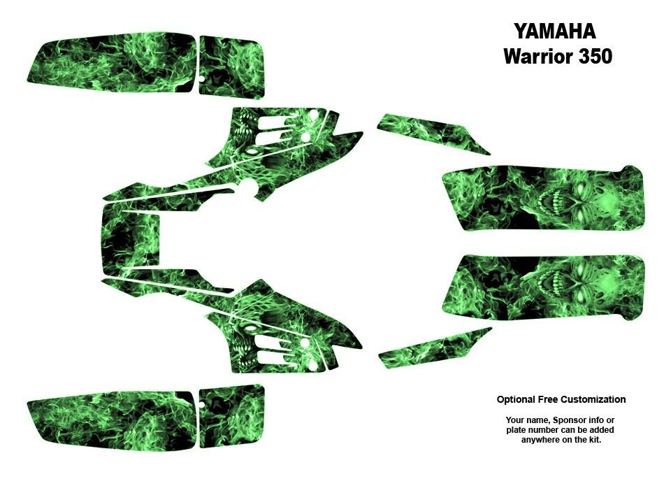 YAMAHA Warrior 350 Quad Graphic Decal Sticker kit 9500GREEN