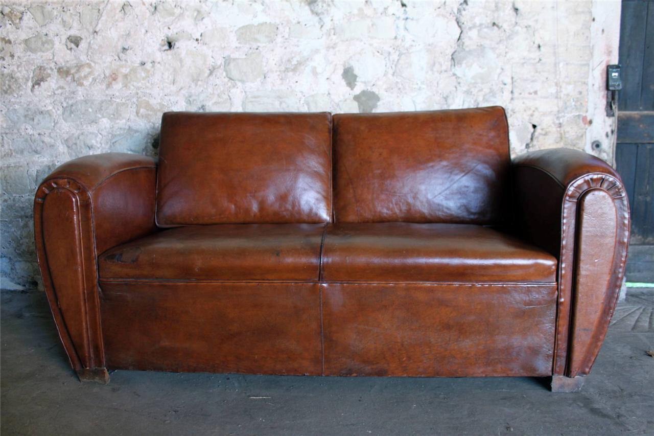 IMMACULATE ANTIQUE FRENCH ART DECO CHESTNUT LEATHER CLUB