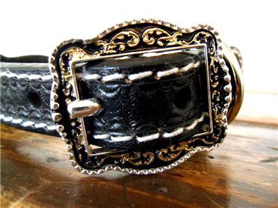 M&F Western Dog Collar Leather Star Conchos Black, Cowboy ...