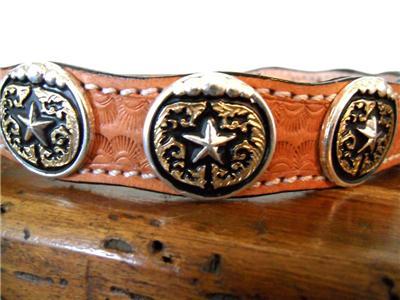M&F Western Dog Collar Leather Star Conchos Saddle Tan ...