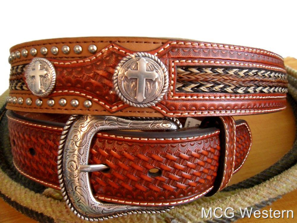nocona western mens belt leather cross concho overlay