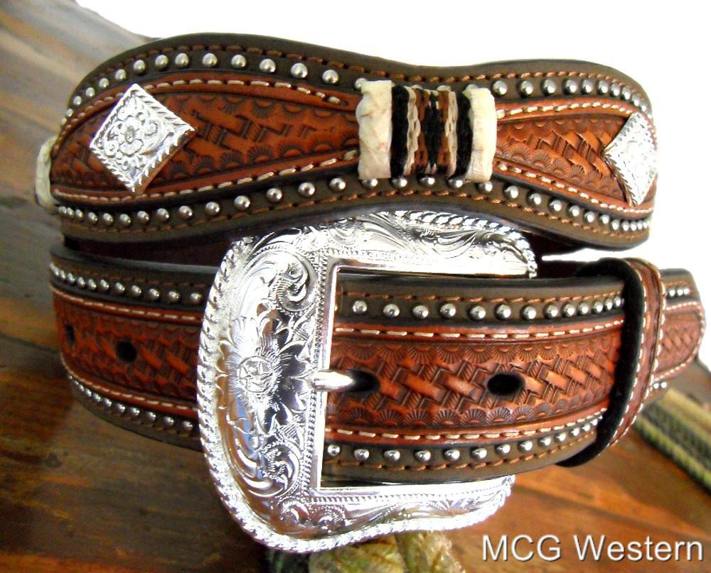 nocona western mens belt leather scallop overlay copper