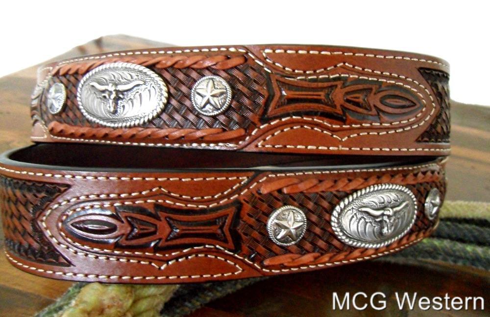 western tooled leather belt w longhorn buckle ebay