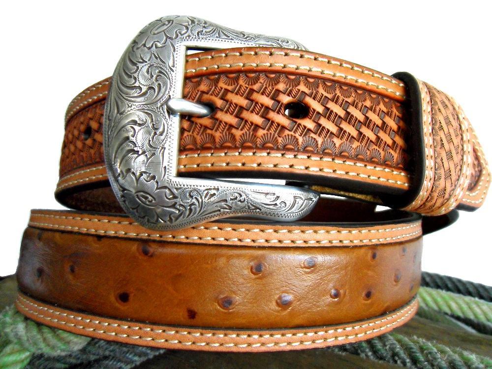 nocona western mens belt ostrich print leather ebay