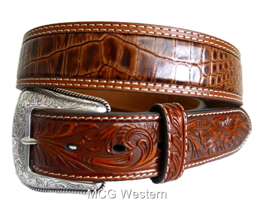 nocona western mens belt gator tooled leather rich earth