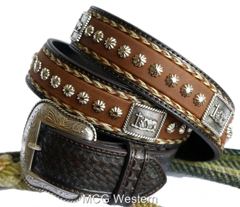 nocona western mens belt leather cowboy prayer concho